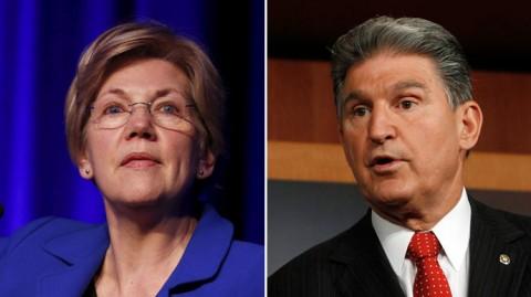 エリザベス・ウォーレン上院議員(民主党-マサチューセッツ州)と、ジョー・マンチン(民主党-ウェストバージニア州) (ロイター)