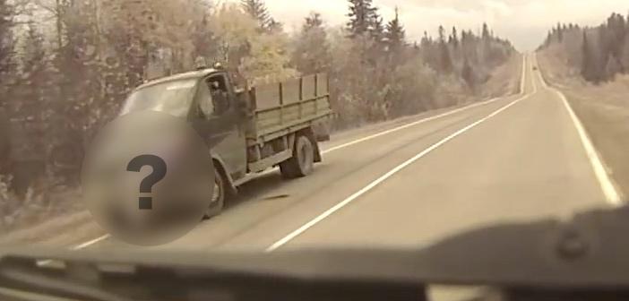 あれ、対向車のトラックに何かいなかったか!? 〜23秒のところで動画を...