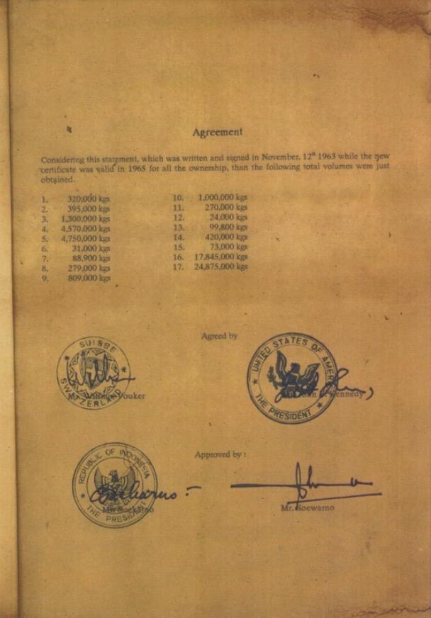 合意内容とケネディ大統領とスカルノ大統領の署名が記載された協定原本の1頁。 画像の出典:Kグループ社の別記事には協定の他の頁も掲載されています。