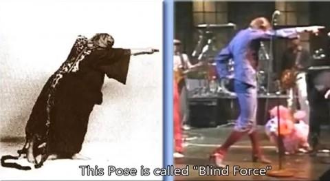 左:アレイスター・クロウリーのブラインドフォース(目に見えない力)を示すポーズ。スミレ色のローブをまとっています。 右:同じくスミレ色の衣装を着たデビッド・ボウィがステージで同じポーズをしています。