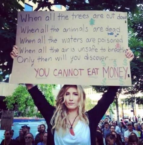 すべての木々が切り倒され すべての水が毒され すべての動物が死に すべての空気が呼吸するのに不適となったとき そのとき初めてあなたは知るだろう、お金は食べられないということを。