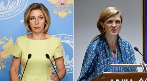 ロシア外務省報道官マリア・ザハロワ(左)とアメリカ国連大使 サマンサ・パワー