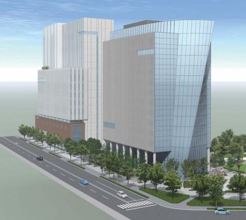 出典:日本体育協会・日本オリンピック委員会新会館(仮称) 建設計画 左のビルが「日本青年館・日本スポーツ振興センター新ビル」 右が「日本オリンピック委員会・日本体育協会の新ビル」