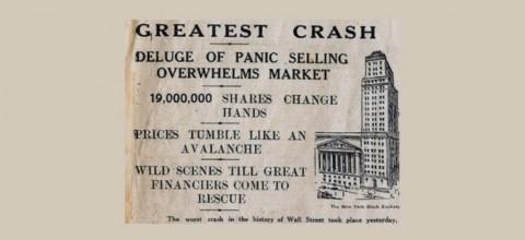 【翌日の新聞の見出し:】「最大の崩潰 大量のパニックによる売りが市場を圧倒。1900万の株券が書き換えられる。価格は雪崩のように下落。大規模投資家による救いの手が差し伸べられるまで惨状は続くだろう。」