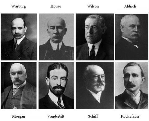 【写真左上から:】ウォーバーグ、ハウス、ウィルソン、アルドリッチ、モルガン、ヴァンダービルト、シフ、ロックフェラー