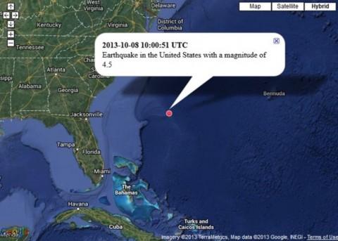 【2013年10月8日(協定世界時)、アメリカ合衆国でマグニチュード4.5の地震】