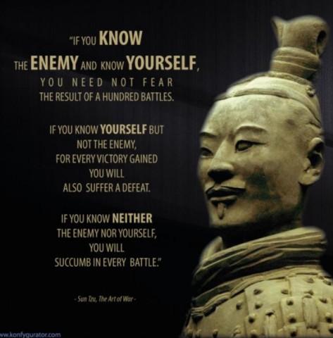 敵を知り、おのれを知らば、百戦して殆(あや) うからず。彼を知らずして、おのれを知らば、 一勝一敗す。彼を知らずしておのれを知らざれ ば、戦うごとに必ず殆うし。 ――孫子