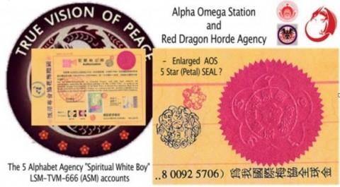 【右下はアルファ・オメガ・ステーション(AOS)の5弁の花びらの印章を拡大したもの。「國際梅花協會」と表記されています。左はアルファベット5つの機関、スピリチュアル・ホワイト・ボーイのLSM-TVM-666口座群の紋章でしょうか?同じく5つの梅印があります。 ちなみに右上はこちらの解説曰く、アルファ・オメガ・ステーションの紋章と、それに黒い雌鶏をかぶせただけのレッド・ドラゴン集団機関の紋章】