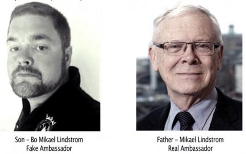 息子:ボー・ミカエル・リンドストローム、偽の大使    父親:ミカエル・リンドストローム、本物の大使