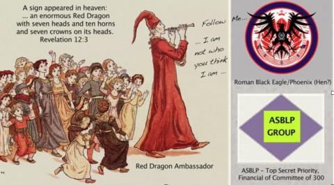 【左絵の上:黙示録12章3節より「一つのしるしが天に現れた:…赤い大きな竜である。これには七つの頭と十本の角があって、その頭に七つの冠を被っていた。」 ハーメルンの笛吹きに扮するレッド・ドラゴン大使のセリフ「ついておいで…私は君たちが考えている人物ではないのだ…」 右上の紋章:「ローマの黒い鷹あるいは不死鳥(もしくは雌鶏?)」 右下:ASBLPグループ「秘密の最優先事項は300人委員会の金融」】