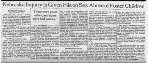 ネブラスカの捜査に、里子の性的虐待に関するファイルが提供された 「良いパーティもあったが、悪いパーティも一部あった」