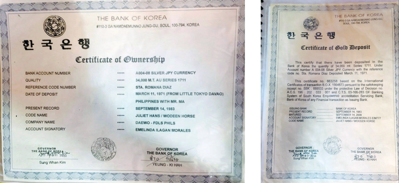 【韓国銀行の口座所有権の証明書と、その口座の中身である34,000トンの金塊預入れ証明書。 1971年の預入れ地点がフィリピンのダバオにあるリトル・トーキョーであること、口座署名者が「エメリンダ・イラガン・モラレス」とフィリピンっぽい名前であることから、上述のフィリピン人自称所有者とリンクしているかもしれません。 訳者には無縁の世界なので意味がよく分からないのですが、口座番号の名称として「A004-08銀の日本円通貨」とあります。銀貨が何か関係しているのでしょうか。】